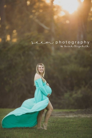 Houston Maternity Photographers SEEM photography Aqua Dress Outdoors