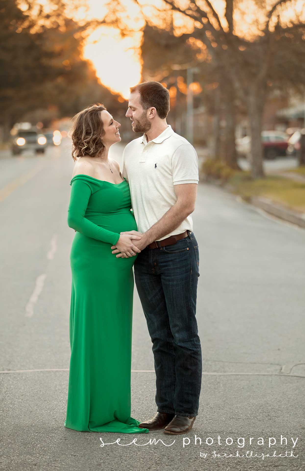 Houston Maternity Photographers SEEM photography Couple Embraces in Street