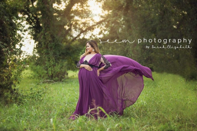 Houston Maternity Photographers SEEM photography Flowing Purple in Wind