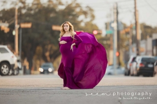 Houston Maternity Photographers SEEM photography Purple Dress Street