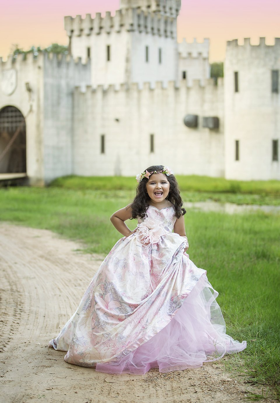 Houston Dream Photographers SEEM photography Castle Dress in Front of Moat