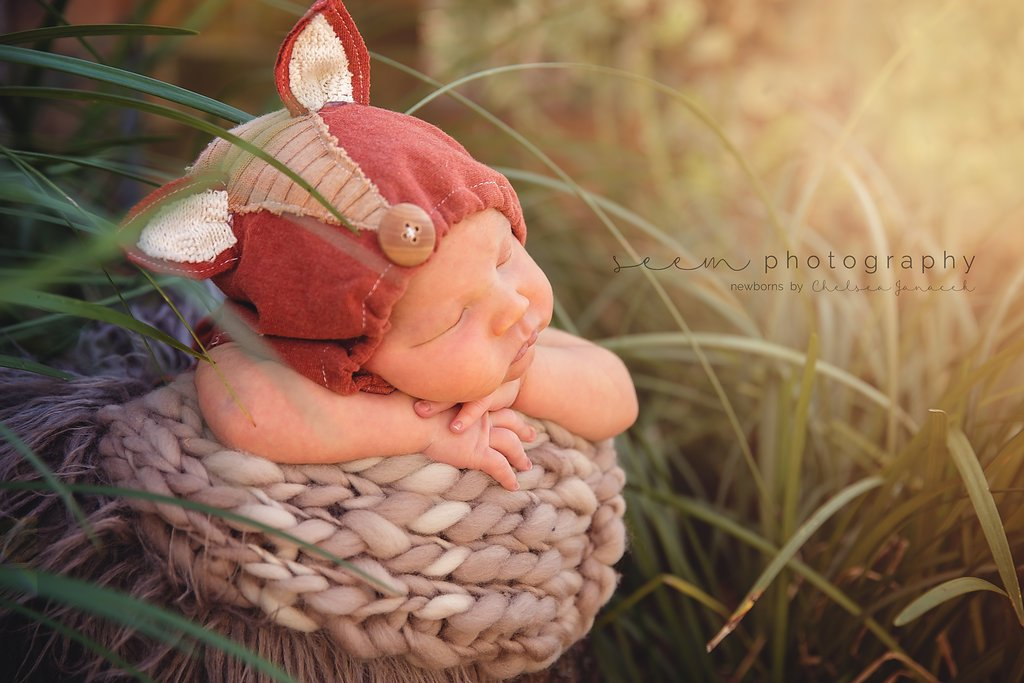 SEEM photography Newborns Outdoor in a Basket with a Fox Outfit