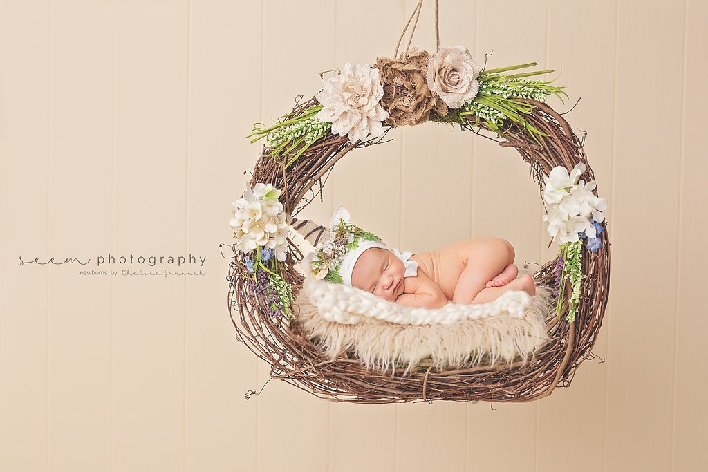 SEEM photography Newborns on a Basket Swing