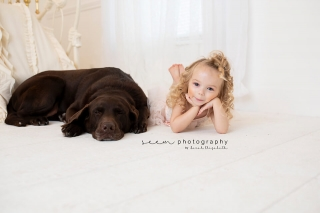 SEEM photography Child and Dog in White Room