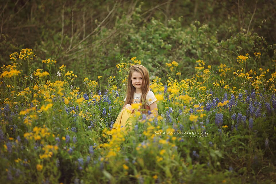 SEEM photography Child Yellow and Bluebonnets